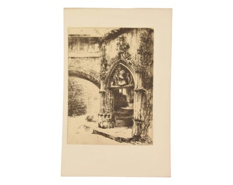 JOUVET-MAGRON Porte de la rue des Chaussetiers à Clermont-Ferrand 1912 Etching