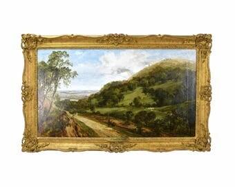 1888 James Dalziel British Landscape Oil Painting Figures on Country Road