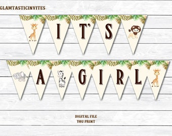 It's a Girl Banner, Safari Baby Shower Banner, Jungle Baby Shower Banner, Baby Shower, Girl Shower Banner, Baby Girl Shower, Digital Banner