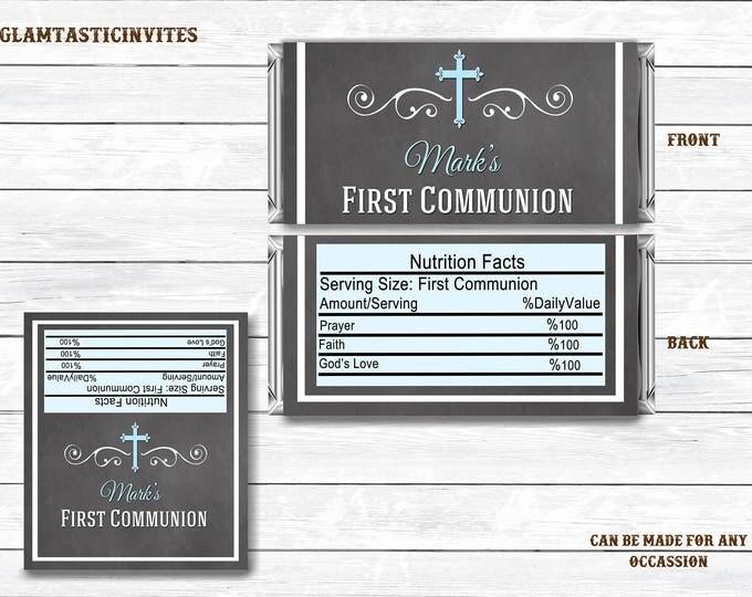 First Communion Wrapper Boy, Boy First Communion Chocolate Wrapper, First Communion Printable, First Communion Boy, Baptism, Digital, Print