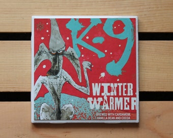 Flying Dog K-9 Winter Warmer Ceramic Craft Beer Coaster from Recycled 6 pack Holder. Beer Coasters. Beer gifts. Drink Coasters.