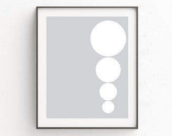 Nordic Wall Print, Modern Geometric Print Art, Modern Gray Wall Decor, Neutral Print Art, Gray Minimal Print Art, Circles, Wall Art Prints
