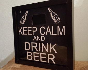 Keep Calm and Drink Beer Keepsake beercap box frame