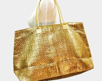 Gold Metallic paper straw beach bag tote, magnetic snap closure with inside pocket