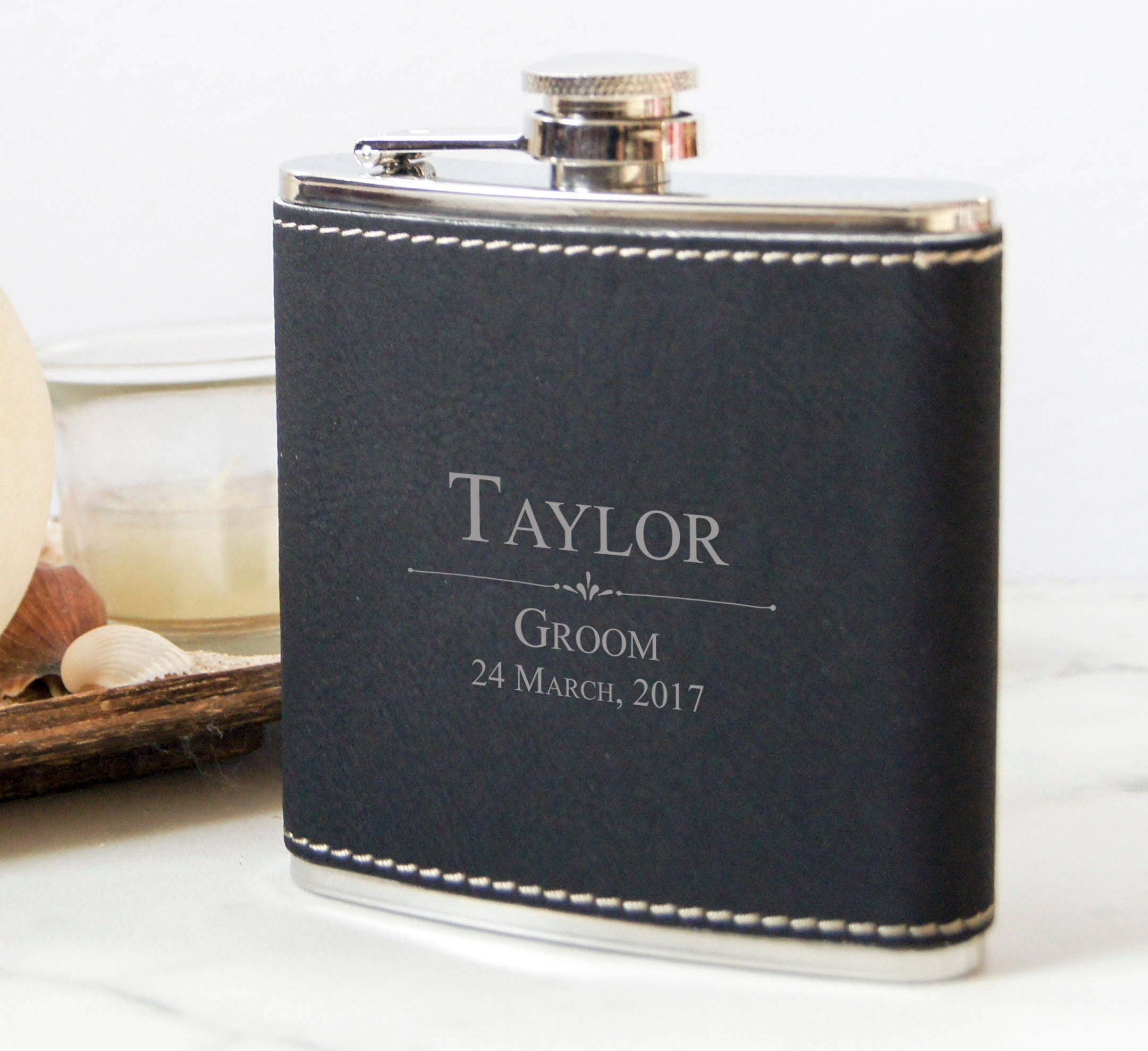 Personalized Set Of 5 Flasks Groomsmen Wedding Gift Best Man Leather Customized Engraved Leatherette