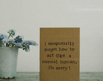 I Am Sorry Card - Apology