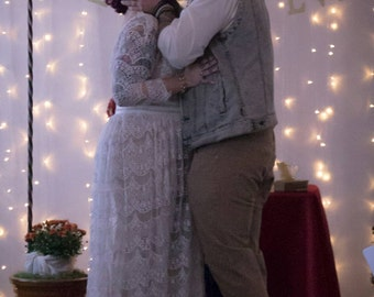 Boho wedding dress, lace wedding dress, Ivory Bohemian wedding dress with sleeves