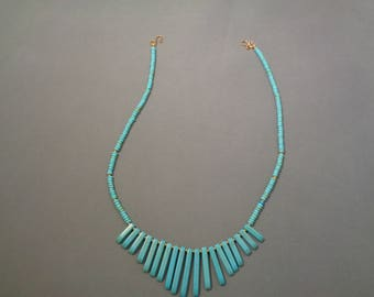 Graduated turquoise and 14K gold necklace