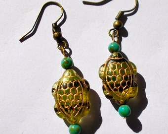 Maia Turtle Bead Collection - Pair of Turtle Earrings