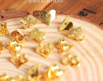 Gold Heart Earring Backs Stoppers