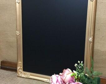 GOLD FRAMED CHALKBOARD - Gold Ornate Blackboard / Gold Framed Chalk Board / Gold Notice Board / Framed Chalkboards / Gold Home Decor