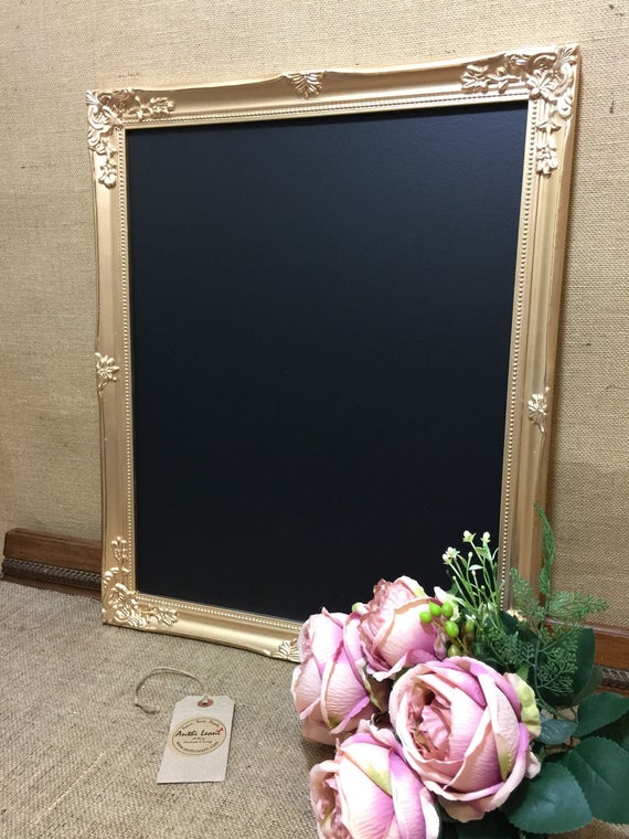 GOLD FRAMED CHALKBOARD - Gold Ornate Blackboard / Gold Framed Chalk Board / Gold Notice Board / Framed Chalkboards / Gold Home Decor