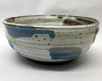 stoneware bowl // white and blue glaze
