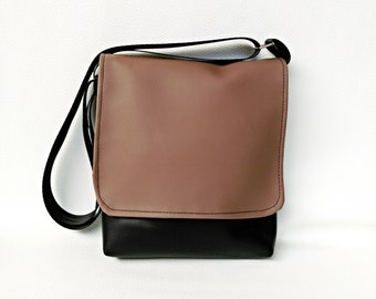 Brazilnut brown flap on black messenger vegan faux leather cross body crossbody shoulder vinyl satchel bag handbag