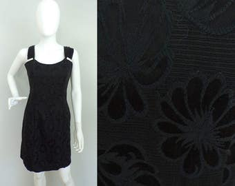 Vintage 80s Positively Ellyn Black Formal Dress Size Small, Damask Small, Rhinestone Details, Formal Dress, Sleeveless Dress, Party Dress