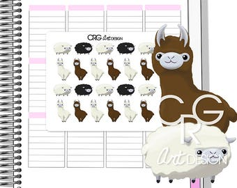 Kawaii Alpaca & Sheep Stickers | Planner Erin Condren Plum Planner Filofax Sticker