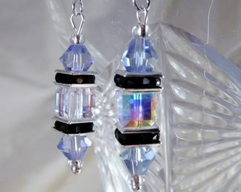 Sterling silver crystal earrings...pale blue/clear crystal Swarovski cube.