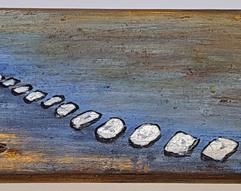 """Original mixed media painting on wood - ''Stepping Stones"""""""