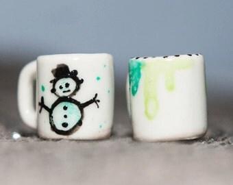 Snowman Miniature Mug set of 2