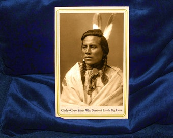 CURLY - CROW SCOUT Survivor of Little Big Horn Native American Cabinet Card Photograph Vintage Reproduction