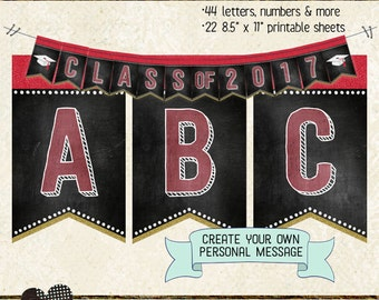 GRADUATION BANNER LETTERS, numbers & extras, create personalized message, printable, instant download, bunting, garland, grad party, red