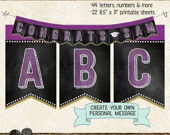 GRADUATION BANNER LETTERS, numbers & extras, create personalized message, printable, instant download, bunting, garland, grad party