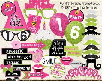 Photo Booth Props, HAPPY 16TH BIRTHDAY, printable sheets, instant download, hot pink, lime, neon green, sweet 16