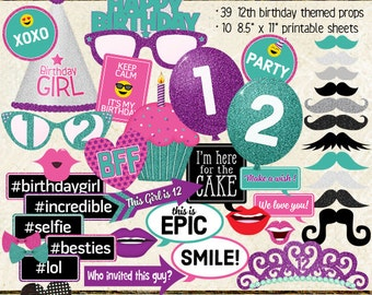 Photo Booth Props, HAPPY 12TH BIRTHDAY, girl, printable sheets, instant download, diy, party planning, purple, pink, teal, turquoise
