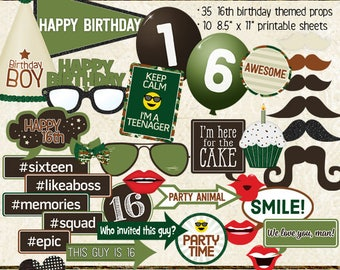 Photo Booth Props, HAPPY 16TH BIRTHDAY, boy, printable props, instant digital download, camo, green, brown, birthday party