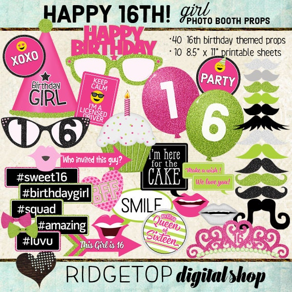 Photo Booth Props HAPPY 16TH BIRTHDAY Printable Sheets
