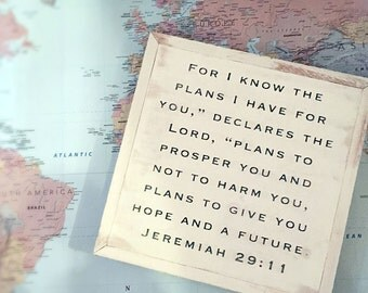 12x12 Jeremiah 29:11 Hand Painted Wood Sign with Rustic Frame