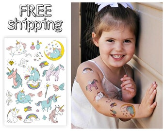 "Temporary tattoos ""Unicorns"". Big kids body stickers set with magic unicorns, rainbow, stars, wings. Playdate and party bag supply. TA048"