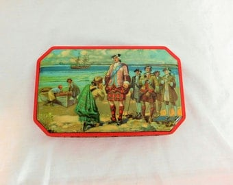 Vintage George W Horner Company Red Tin, Blue Boy Candy Tin, Toffee Tin, Bonnie Prince Charlie, FREE SHIPPING