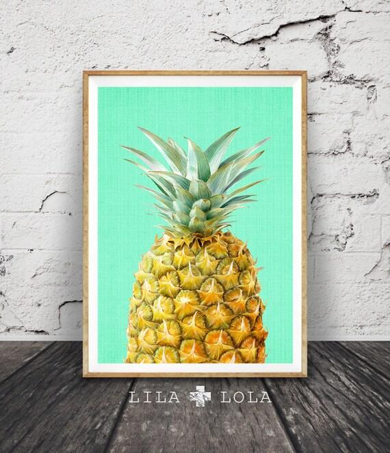 Pineapple Print Tropical Fruit Wall Art Kitchen Decor