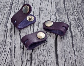 Purple Leather Headphone Case // Leather Earphone Holder - Cable Holder - Cord Keeper - Earbud Holder - Leather Cord Organizer