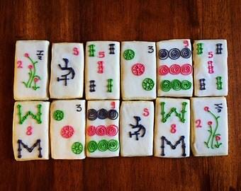 One Dozen - Mahjong Cookies - Mahjong Party Favors - Majiang Decorated Cookies