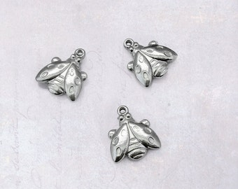 5 x Small Stainless Steel Ladybird Charms - Double Sided Dark Silver Tone Lady Bug