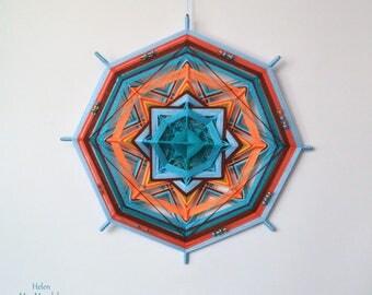 Teal and orange artisan yarn mandala ~ Handmade woven yarn mandala, god's eye, ojos de dios, the eye of god, bright wall decor_yarn wall art