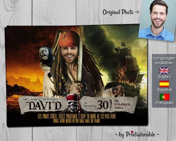 Pirates of the Caribbean Invitation - Pirate Birthday Invite - Digital Buccaneer Invitation for grownups
