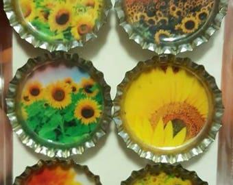 Sunflower Bottle Cap Magnets
