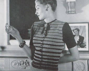 Vintage 40s Knitting Pattern - Woman's Striped Blouse from 1946 - instant download PDF - 1940's Retro Top