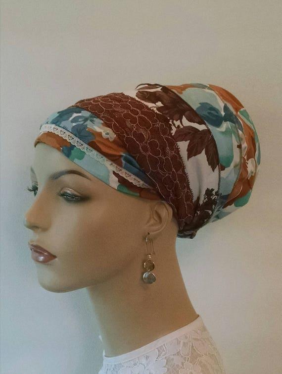 ARIZONA silky cotton and lace sinar tichel, tichels, chemo scarves, head scarves, apron tichels