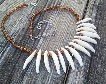 Coyote fang necklace, Beaded Canine Teeth Tooth necklace, Real Animal Teeth, Primitive Gypsy Warrior Jewelry, Boho Tribal Necklace