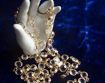 "Swarovski Flapper Vintage Necklace SWAN LOGO Tag Bezel Set Clear Crystal 8mm Stones 1980s Estate Jewelry 36"" Bling"