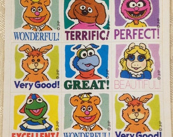 Muppet Reward stickers, 1993 sheet of stickers with Muppet characters, Kermit, Miss Piggy & more