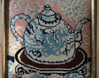 Vintage Petit Point Teapot Picture