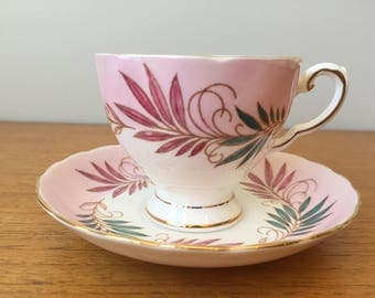 Tuscan China Tea Cup and Saucer, Pink and Turquoise Green Hand Painted Teacup and Saucer, Garden Tea Party, Gift, Pink Bone China