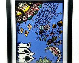 "Garden Canvas Art. Mixed Media Art. Ready To Hang Art. Poetic Art. Shadow Box Framed Canvas. Zentangle. Zendoodle. ""Secret Garden"""