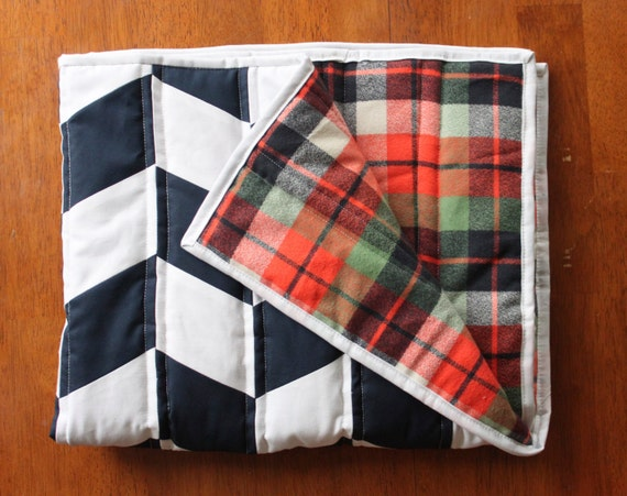 Plaid Baby Quilt: Modern Baby Quilt Navy And Plaid Herringbone Cotton And