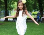 Girls white dress/Faux leather ivory dress/Bridesmaid girls dress/Kids midi dress/Toddler girls shift dress/White party dress/Black dress